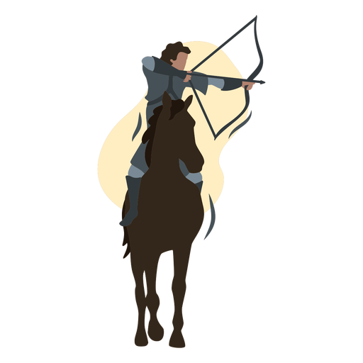 Male archer on a brown horse flat