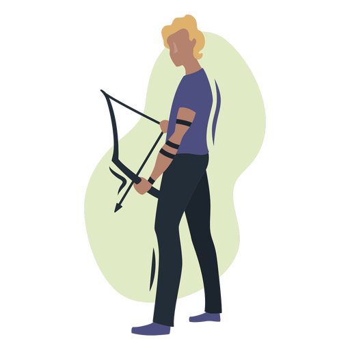 Blond male archer semi flat