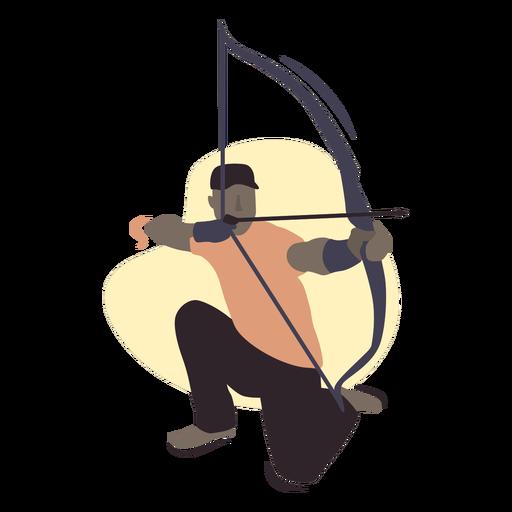 Man archer with a hat semi flat