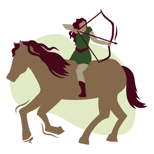 Woman archer on a horse flat