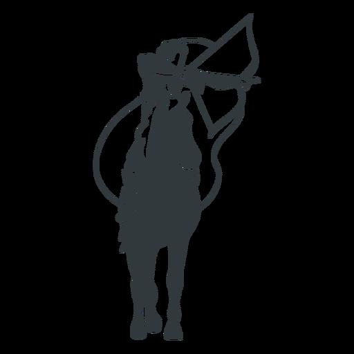 Man archer on a black horse cut out