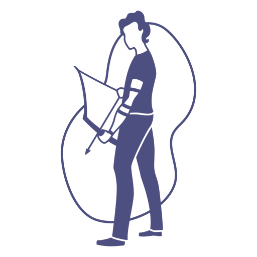 Standing archer man with bow and arrow cut out