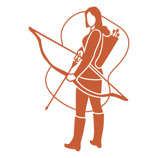 Standing archery woman cut out