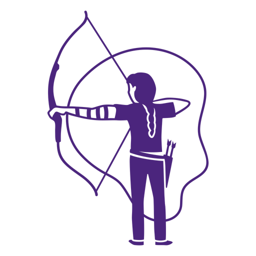 Cut out woman with bow and arrow