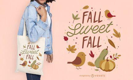 Diseño de la bolsa de asas de la naturaleza de la temporada de otoño.