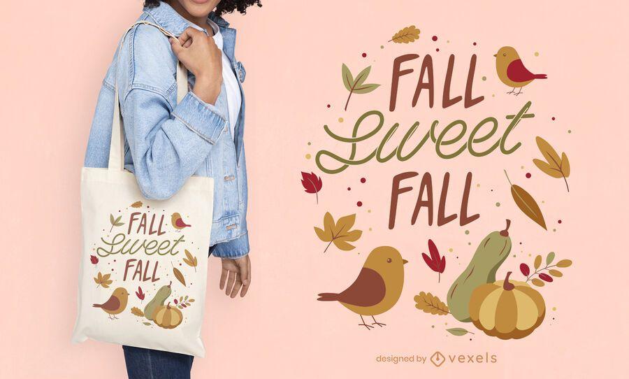 Autumn season nature tote bag design
