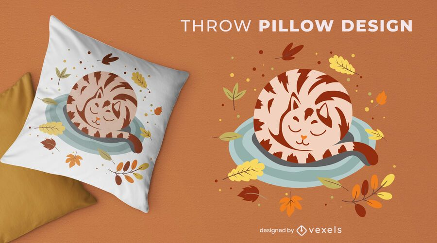 Sleeping cat autumn leaves throw pillow
