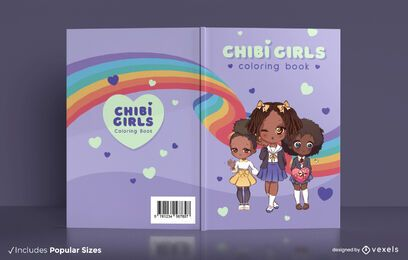 Diseño de portada de libro para colorear de chicas chibi