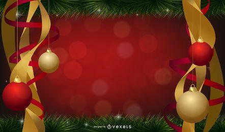 Weihnachtskugeln mit Band hinter ihnen