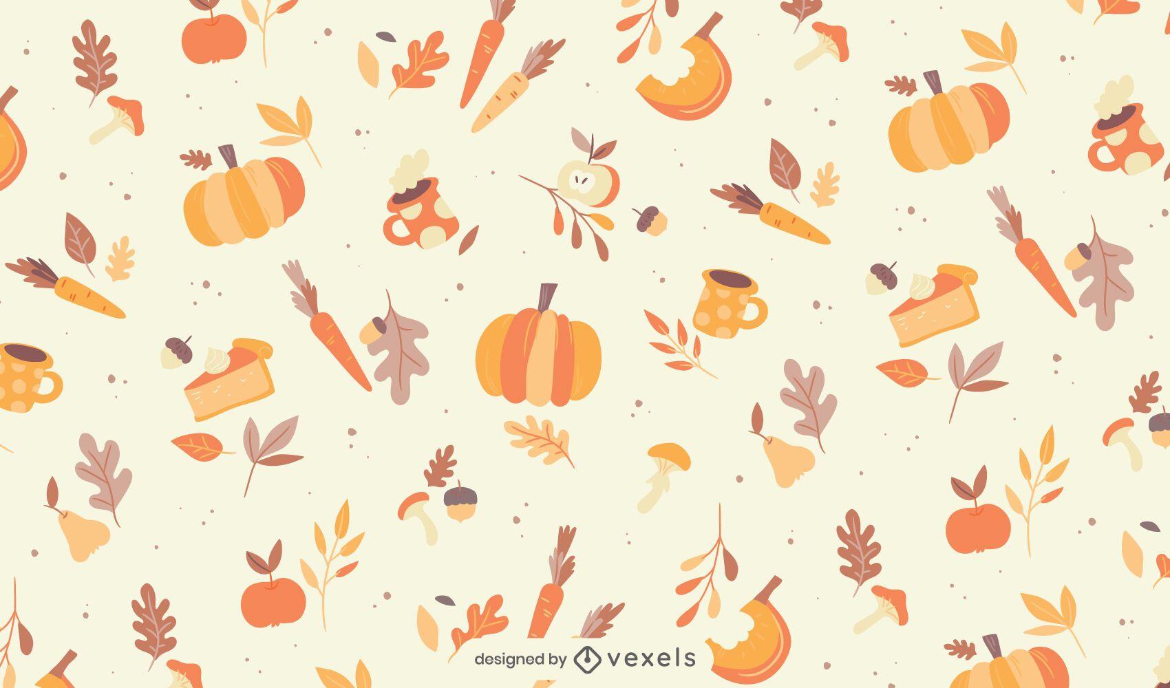 Diseño de patrón de elementos de temporada de otoño