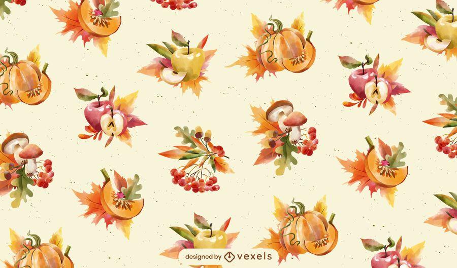 Autumn season food pattern design