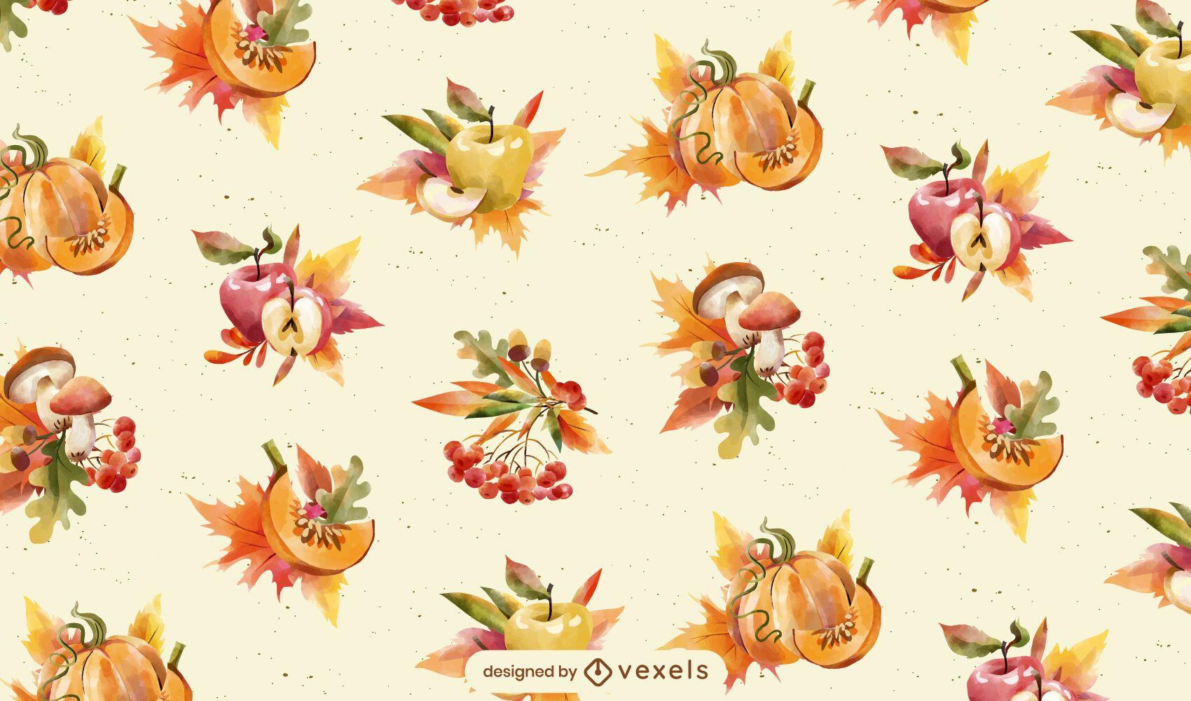 Diseño de patrón de comida de temporada de otoño