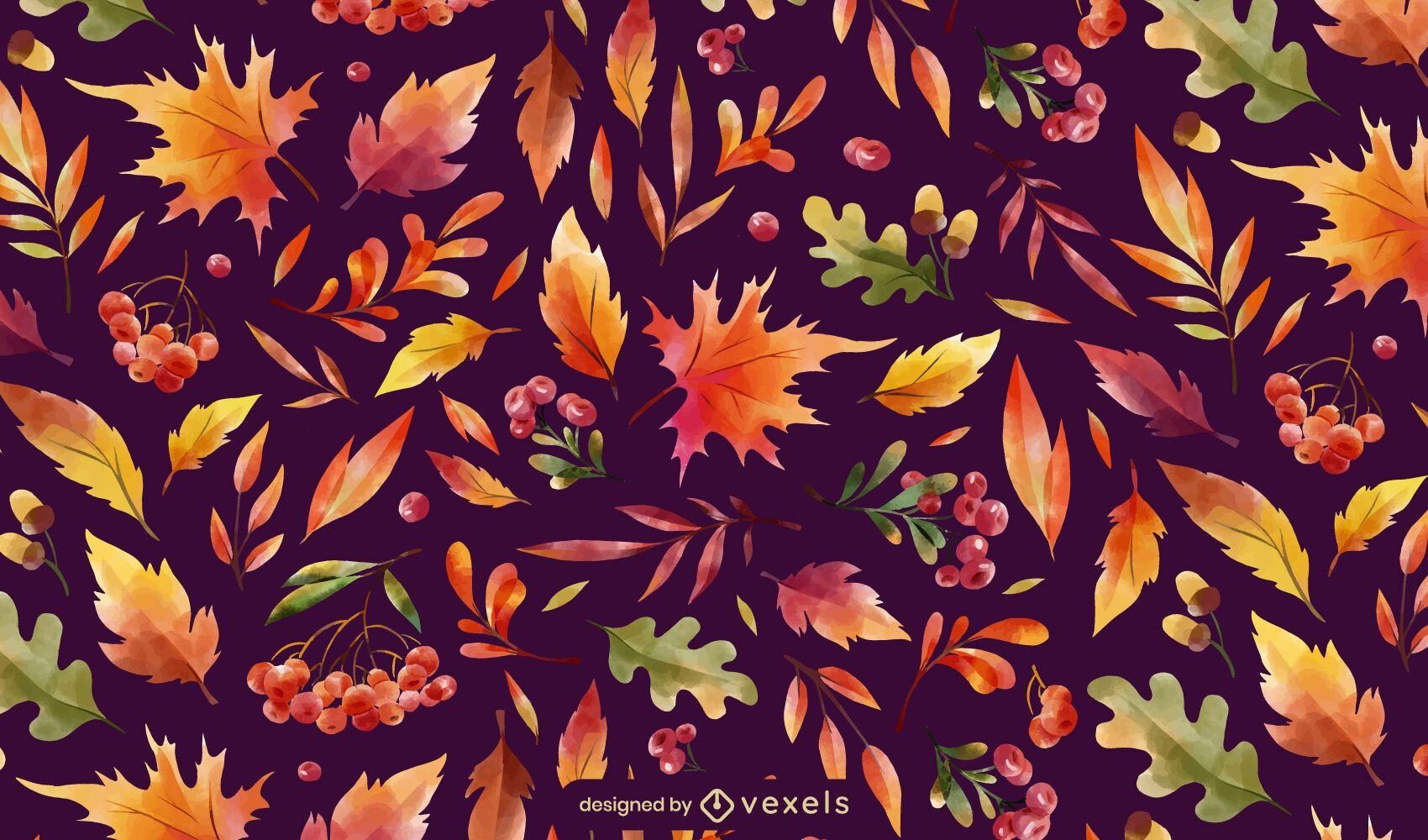 Diseño de patrón de hojas de temporada de otoño