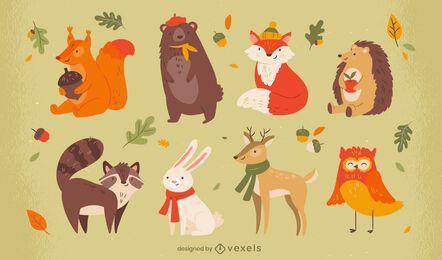 Conjunto de caracteres de temporada de otoño de animales lindos