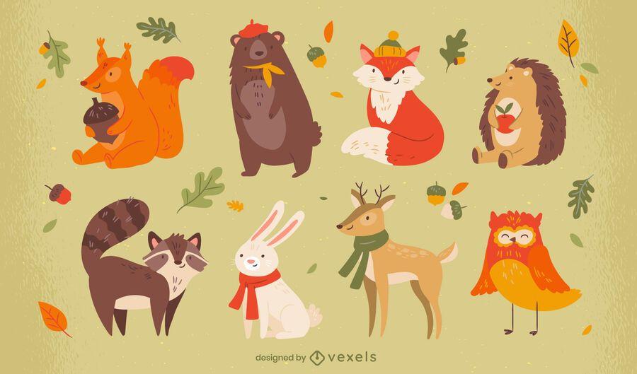 Cute animals autumn season character set