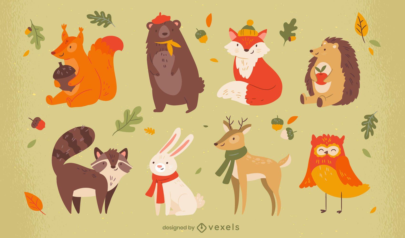 Niedliche Tiere Herbstsaison Zeichensatz