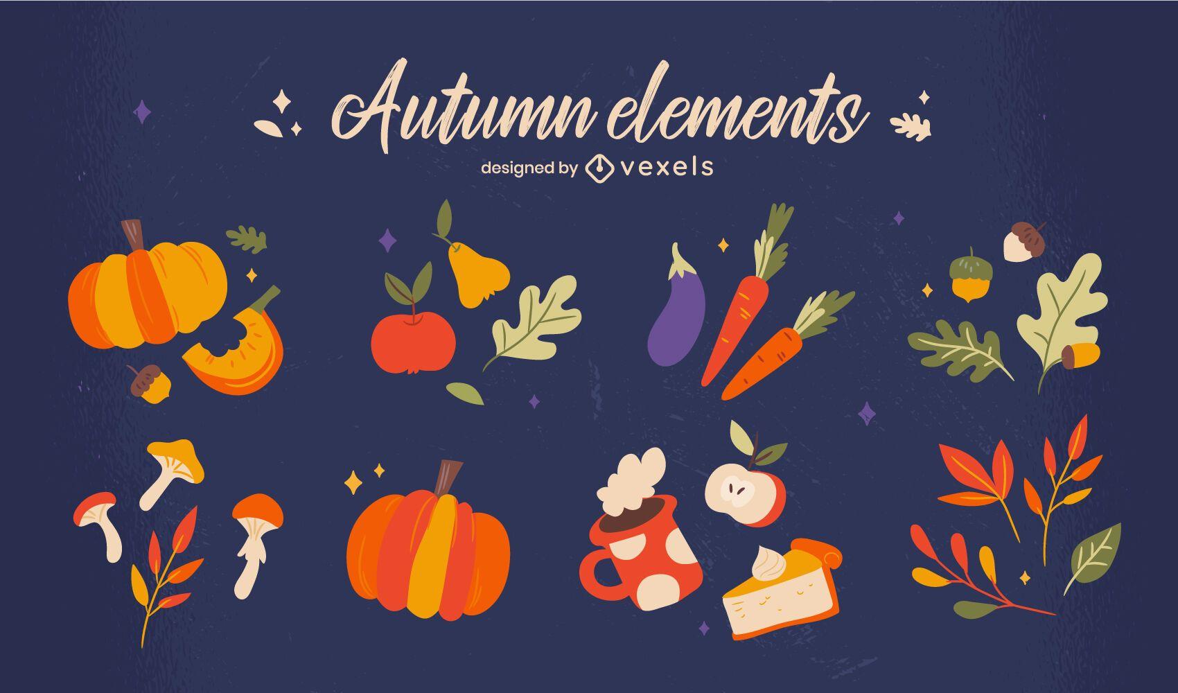 Autumn season food nature element set