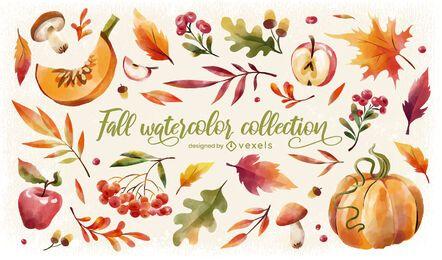 Conjunto de acuarela de naturaleza de temporada de otoño