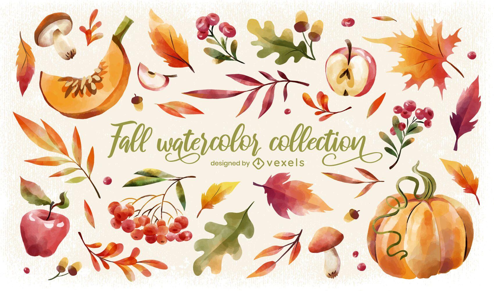 Conjunto de aquarela natureza temporada outono