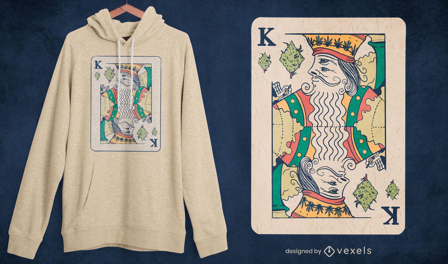 Design de t-shirt de erva daninha de cartão King poker