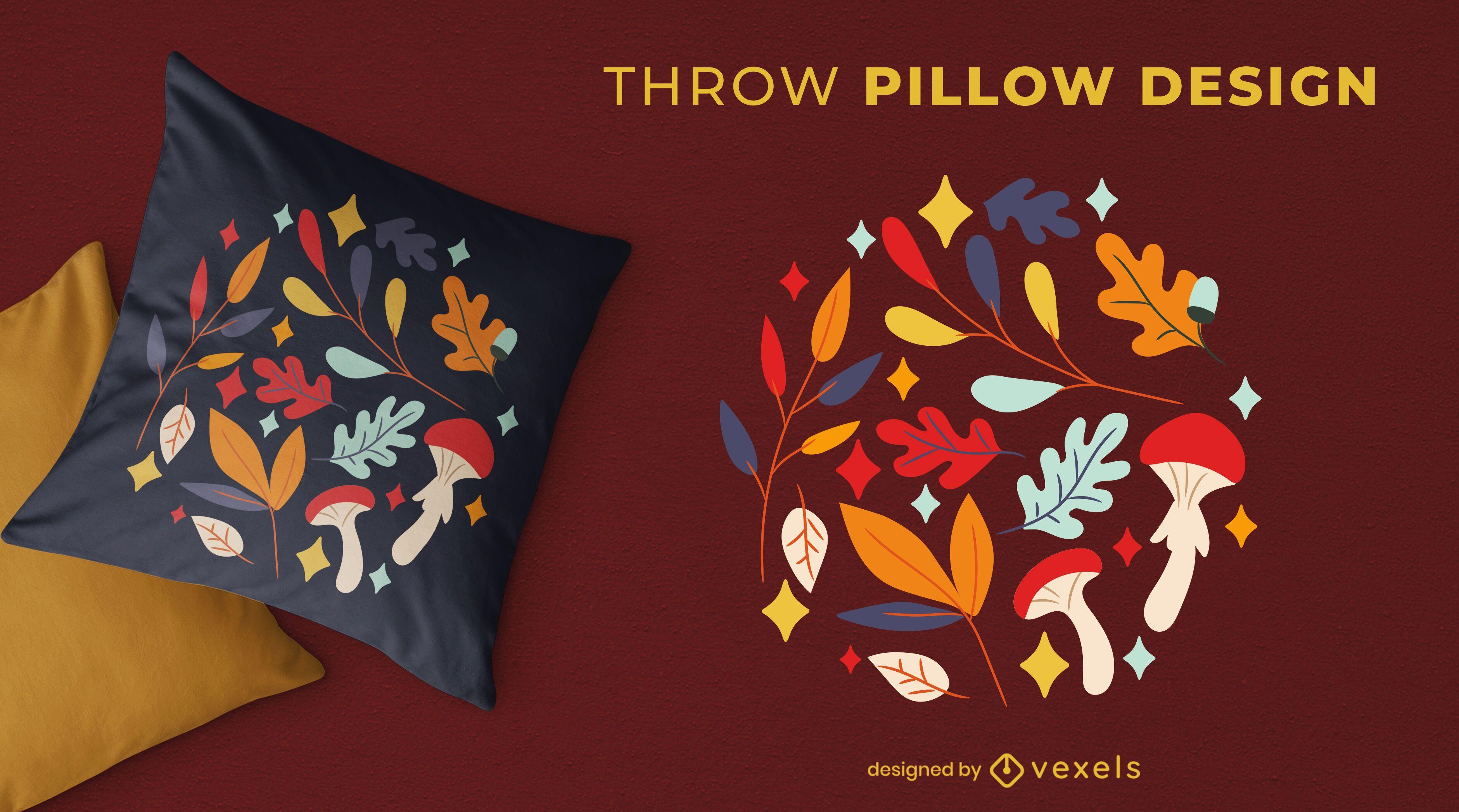 Diseño de almohada de decoración de otoño.