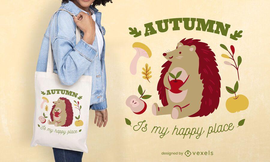 Autumn hedgehog quote tote bag design