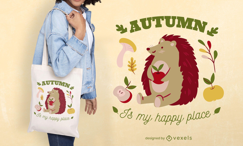 Design de sacola com citações de ouriço de outono