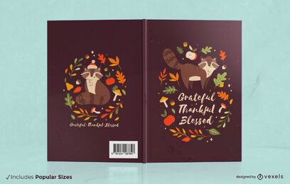 Diseño de portada de libro de mapache de temporada de otoño