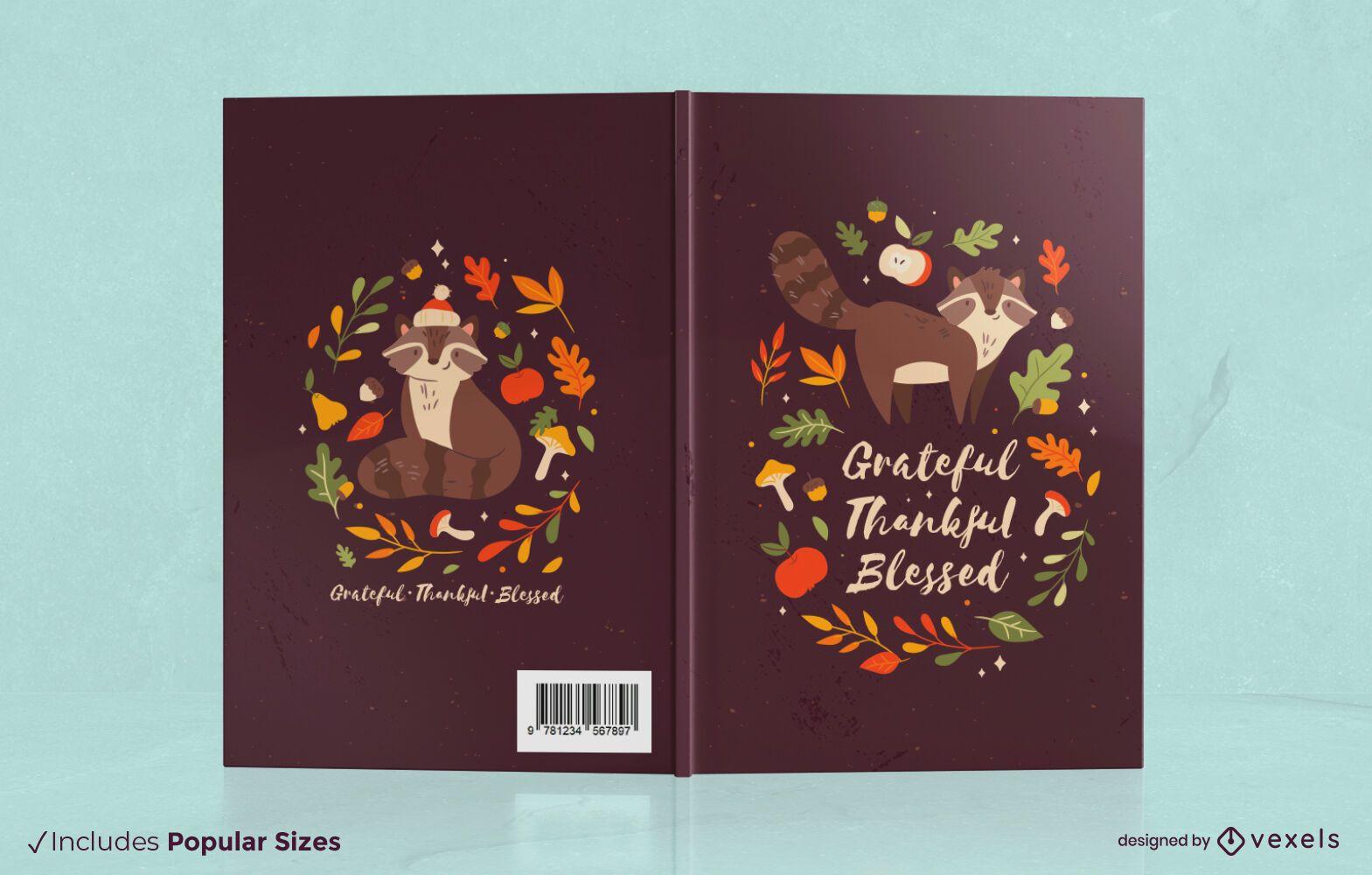 Autumn season raccoon book cover design