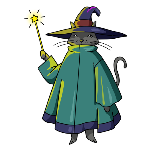 Cat witch color stroke