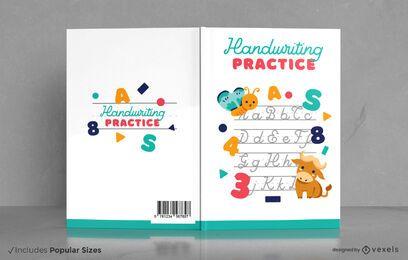 Livro de escrita à mão para bebês animais capa design