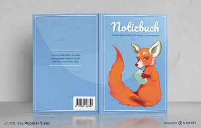 Fox reading notebook cover design