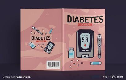 Design da capa do livro de registro de saúde sobre diabetes
