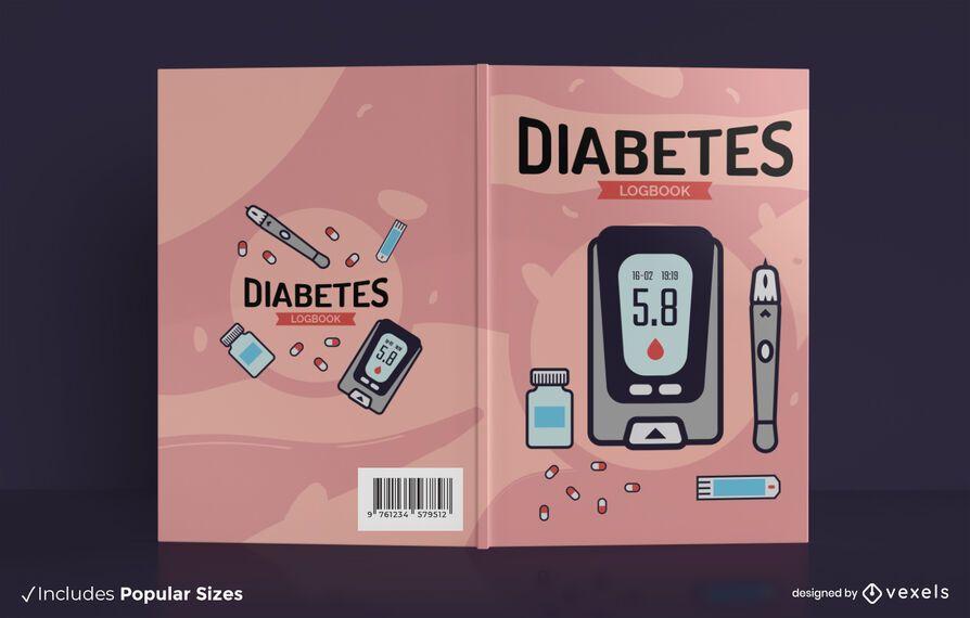 Diabetes log health book cover design