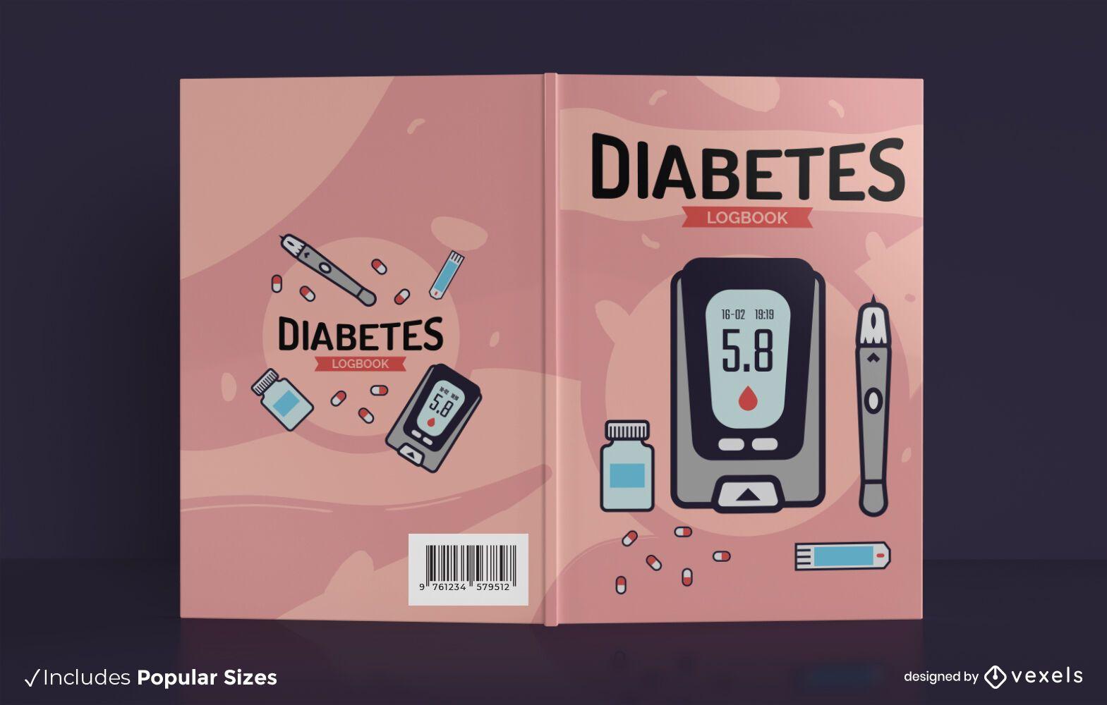 Diseño de portada de libro de salud de registro de diabetes