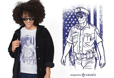 Design de camiseta de policial americano
