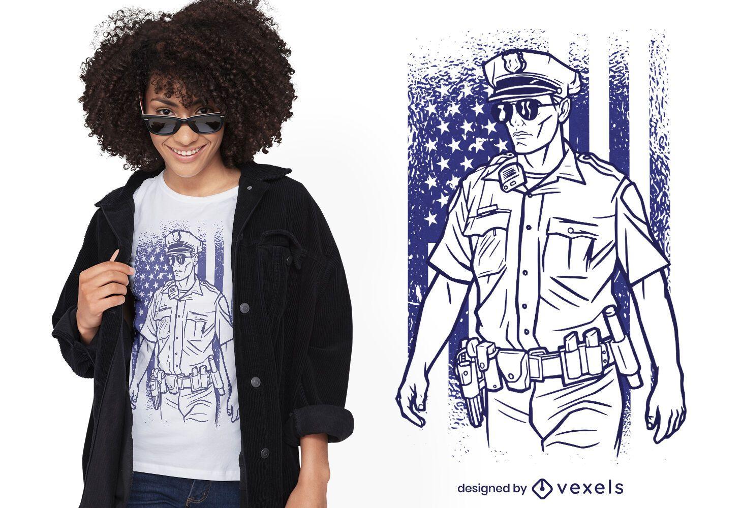 Diseño de camiseta de oficial de policía estadounidense.