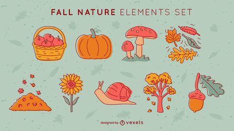 Autumn season leaves and food set