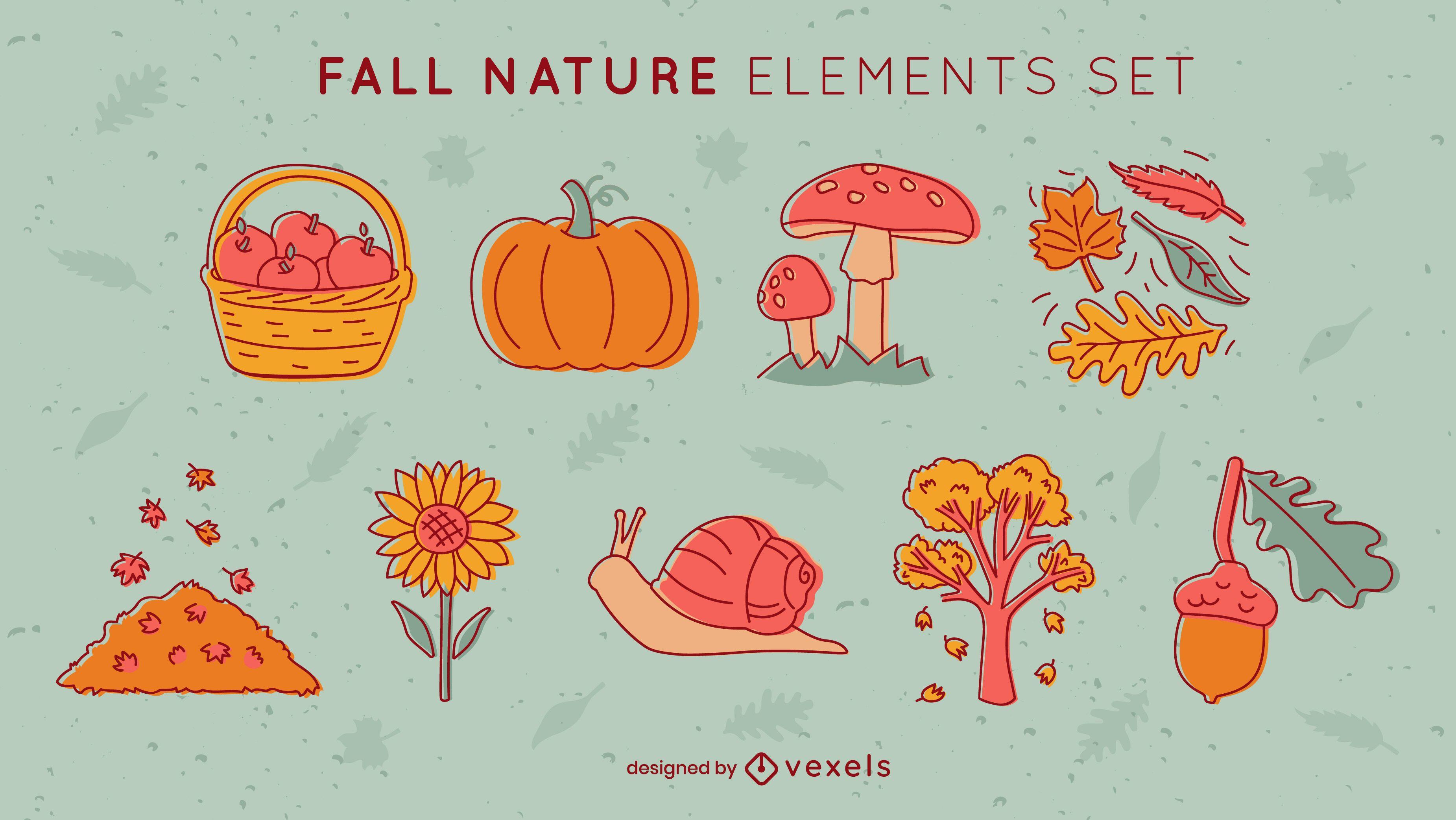 Conjunto de folhas e alimentos da temporada de outono