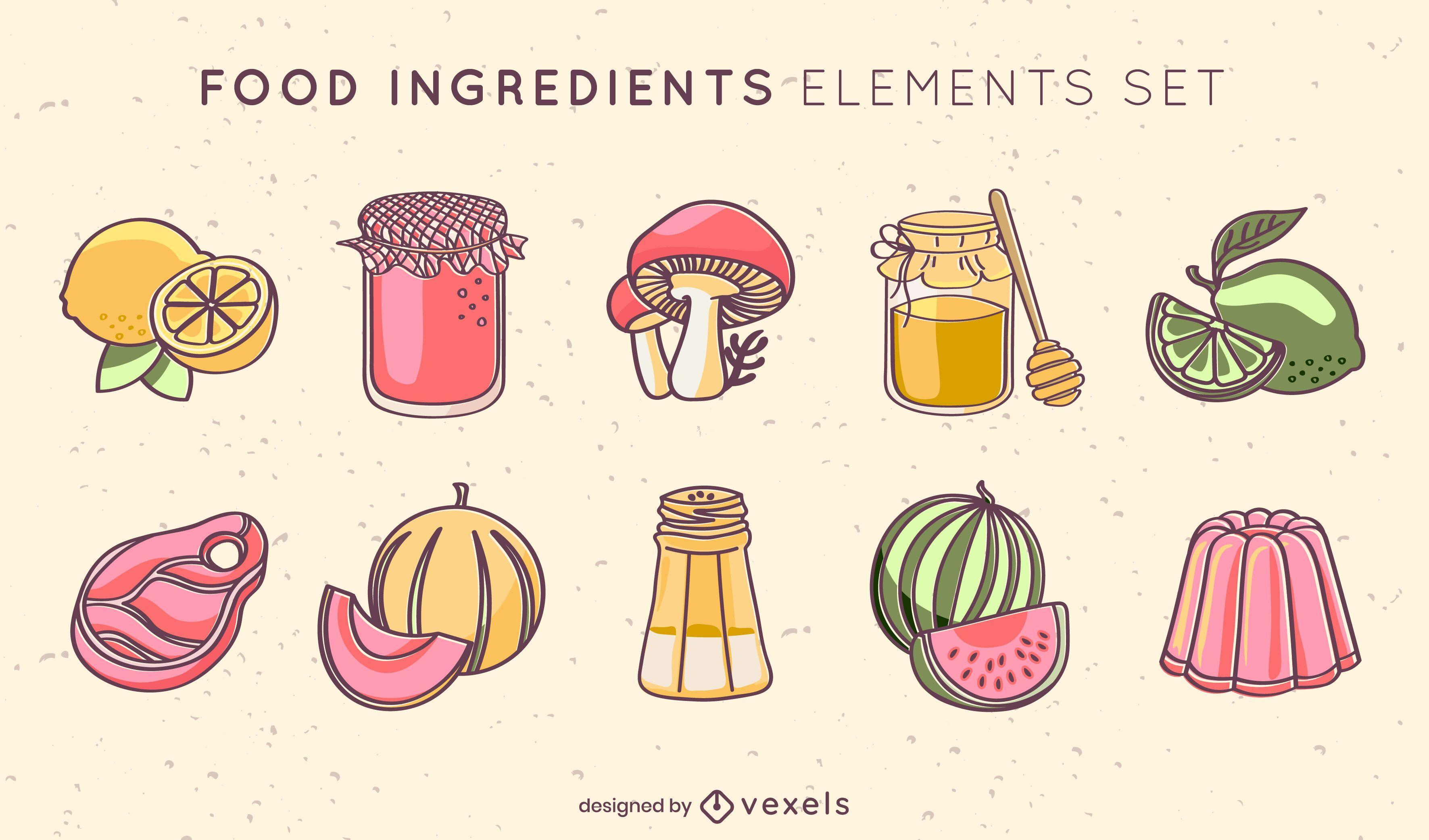 Conjunto de frutas de ingredientes alimentarios