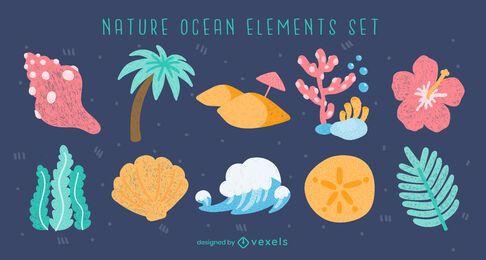 Conjunto de naturaleza de elementos de verano de playa de océano