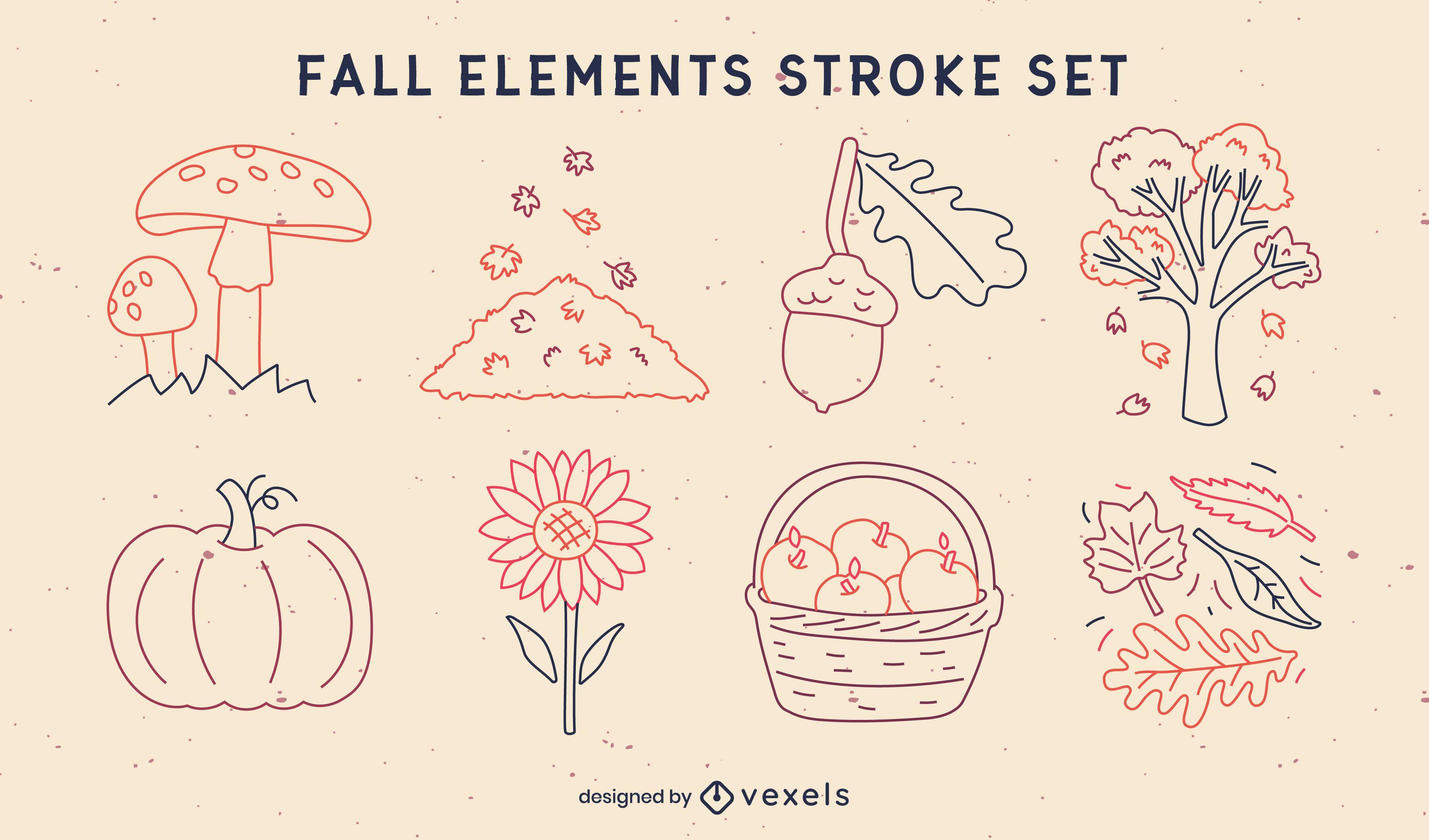 Autumn season elements nature stroke set