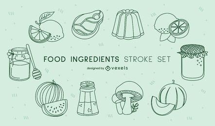 Ingredients cooking food stroke set