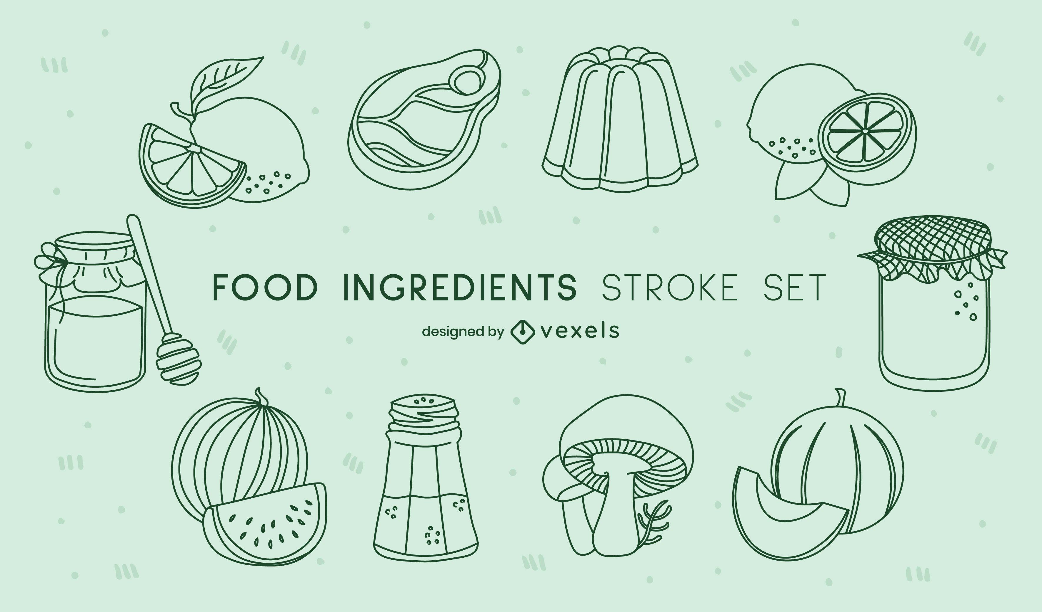 Zutaten, die Lebensmittel-Strichset kochen