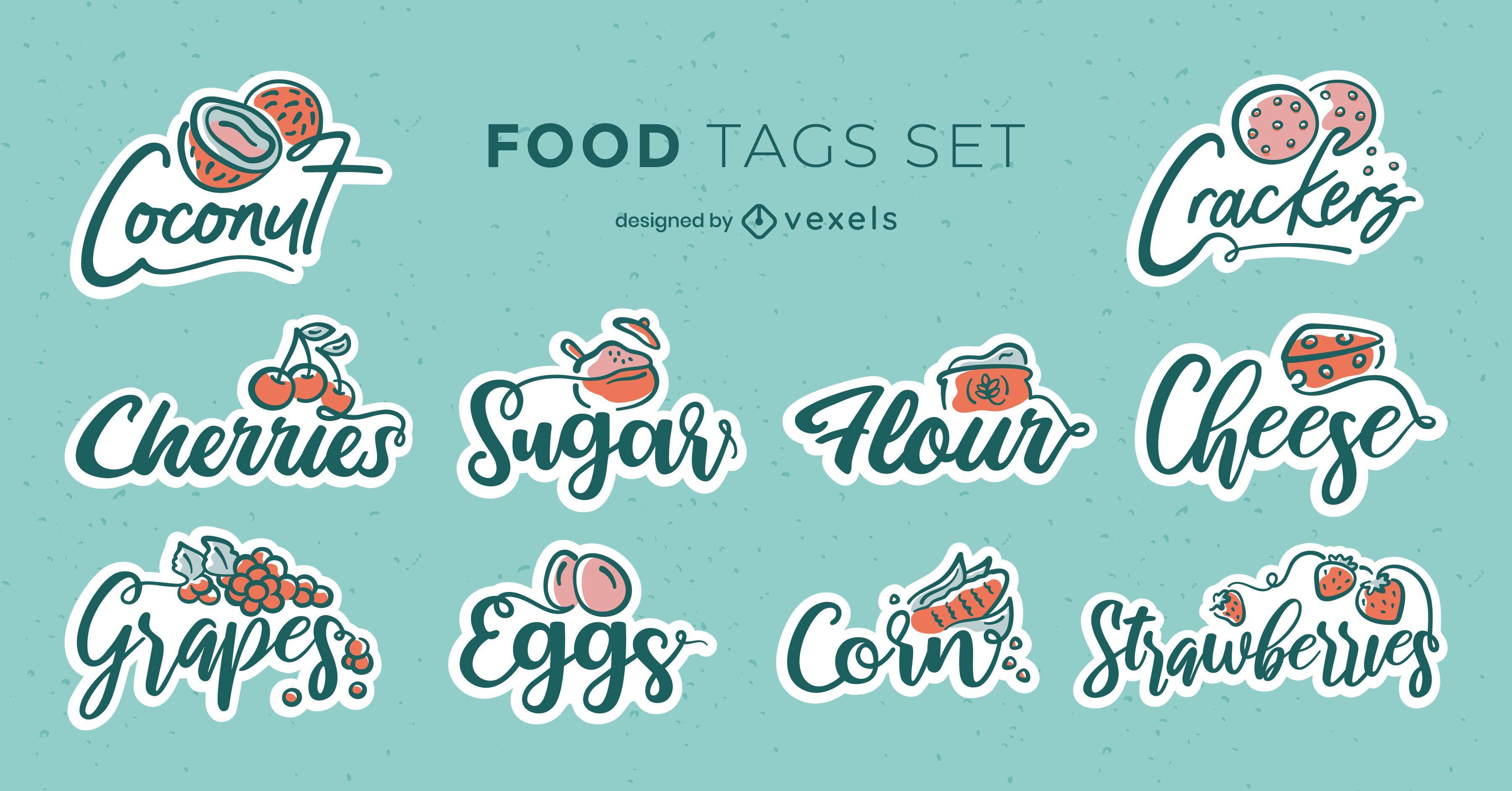 Lebensmittel Zutaten Abzeichen Schriftzug Set