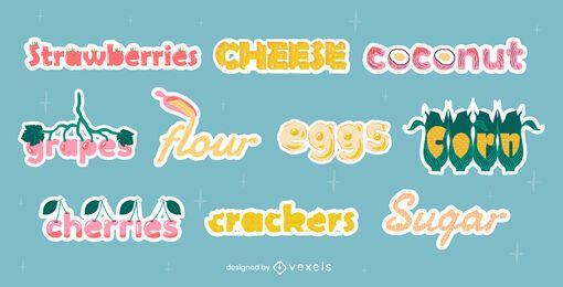 Conjunto de letras de títulos de ingredientes alimentarios