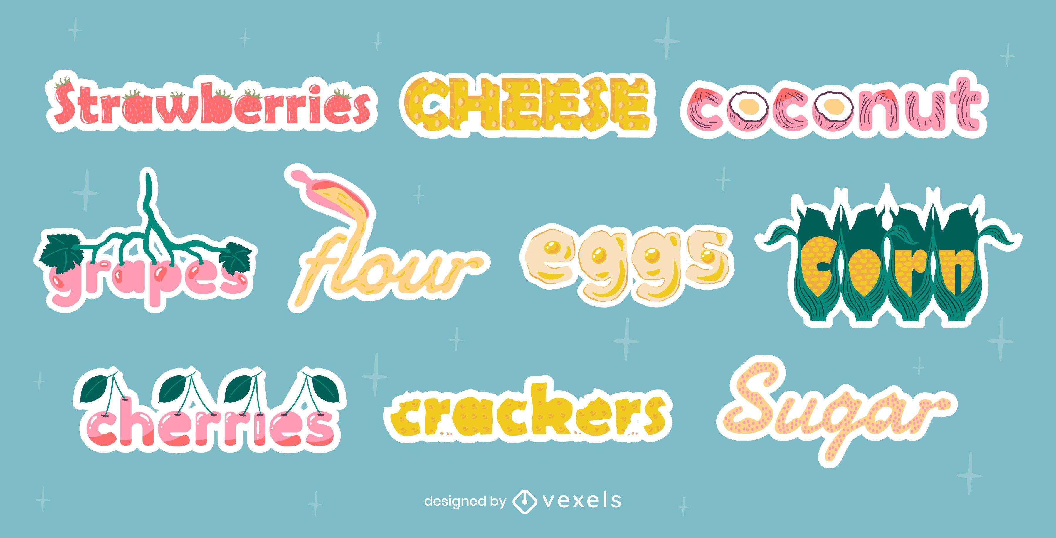 Conjunto de letras de títulos de ingredientes alimentares