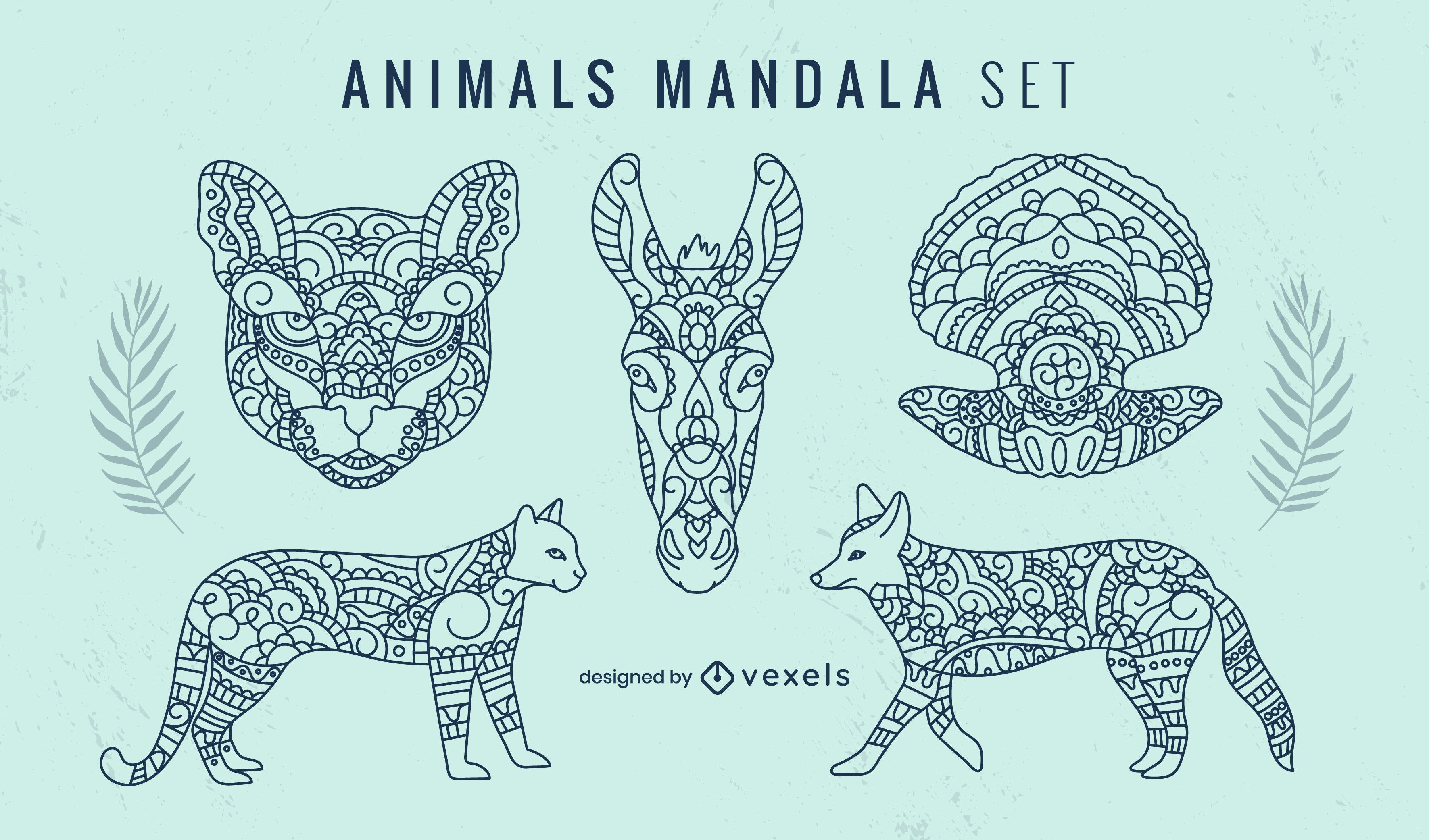 Conjunto decorativo de mandala animal