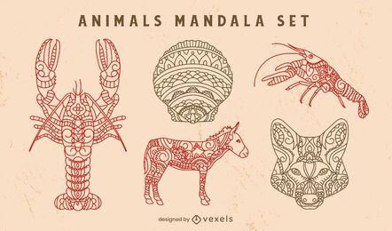 Conjunto decorativo de naturaleza de mandala de animales salvajes.