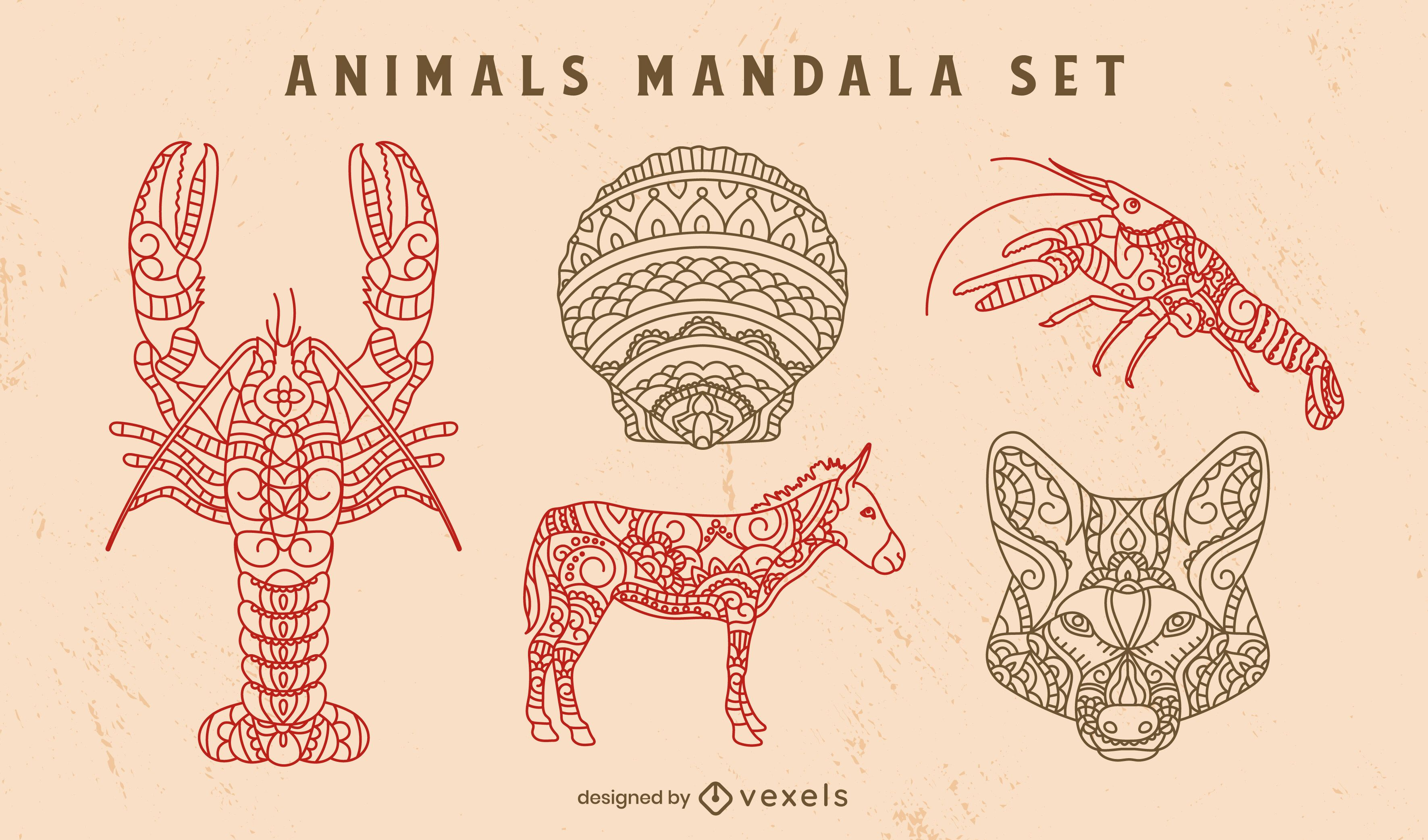 Conjunto decorativo de mandala de animais selvagens